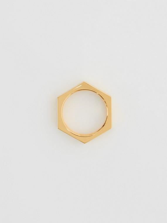 Vergoldeter Ring im Schraubenmutterdesign (Helles Goldfarben)