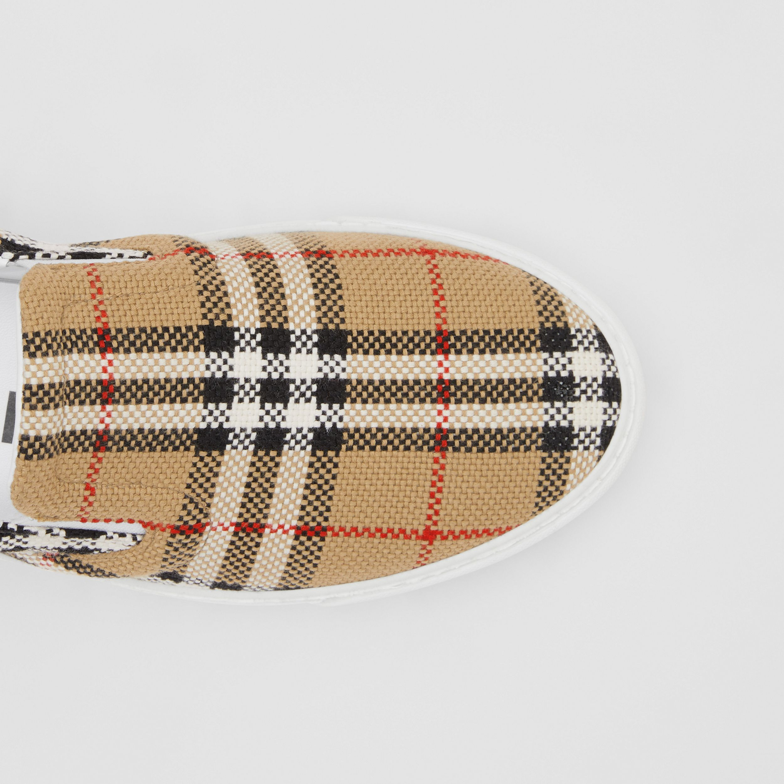 Bio-based Sole Latticed Cotton Slip-on Sneakers in Archive Beige - Women | Burberry Australia - 2