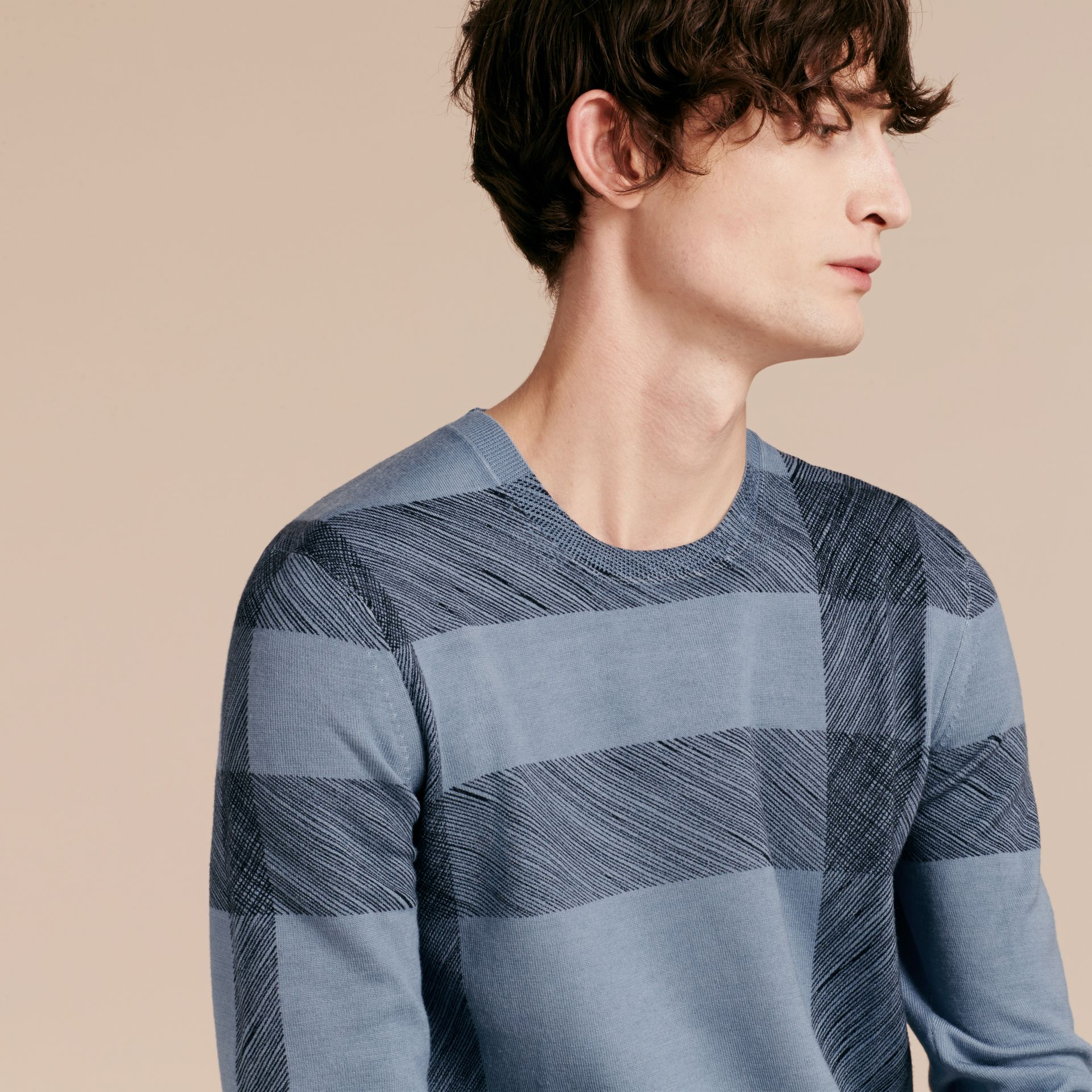 Light blue Abstract Check Merino Wool Sweater - gallery image 4