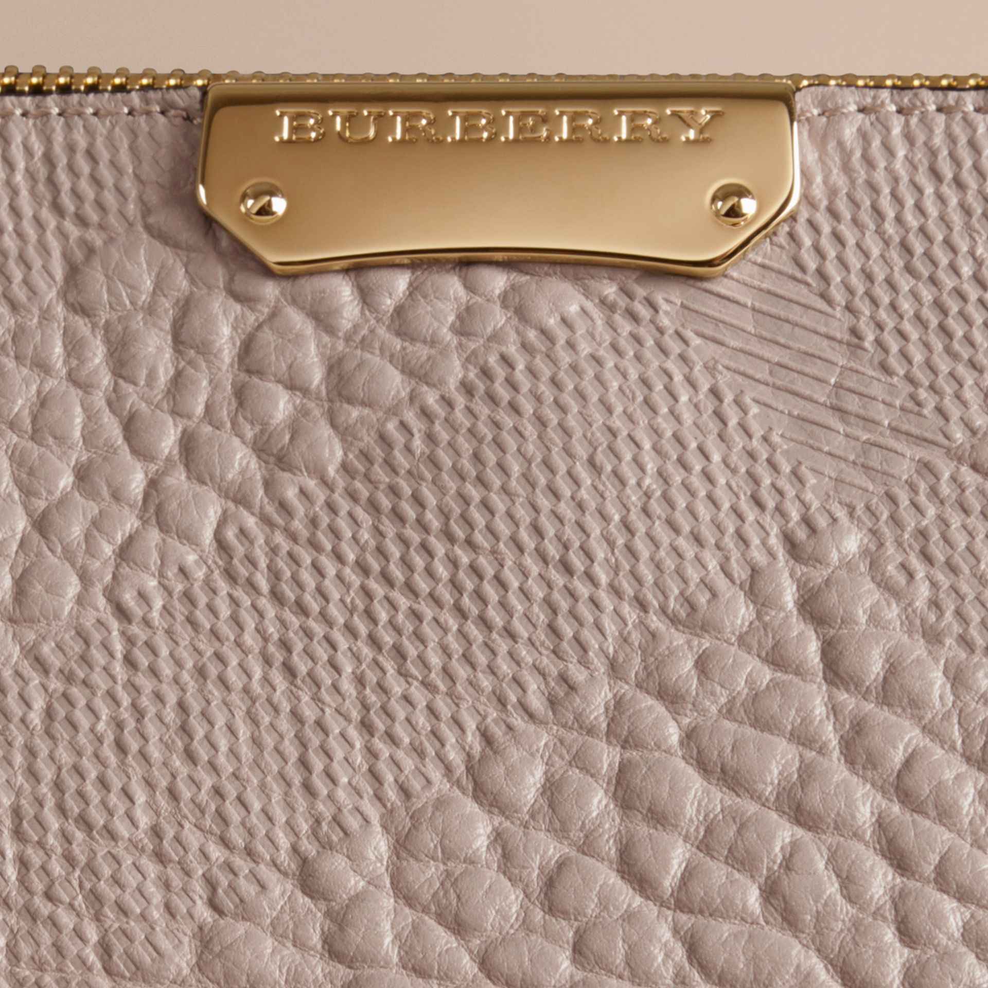 Small Embossed Check Leather Clutch Bag in Pale Grey - gallery image 2