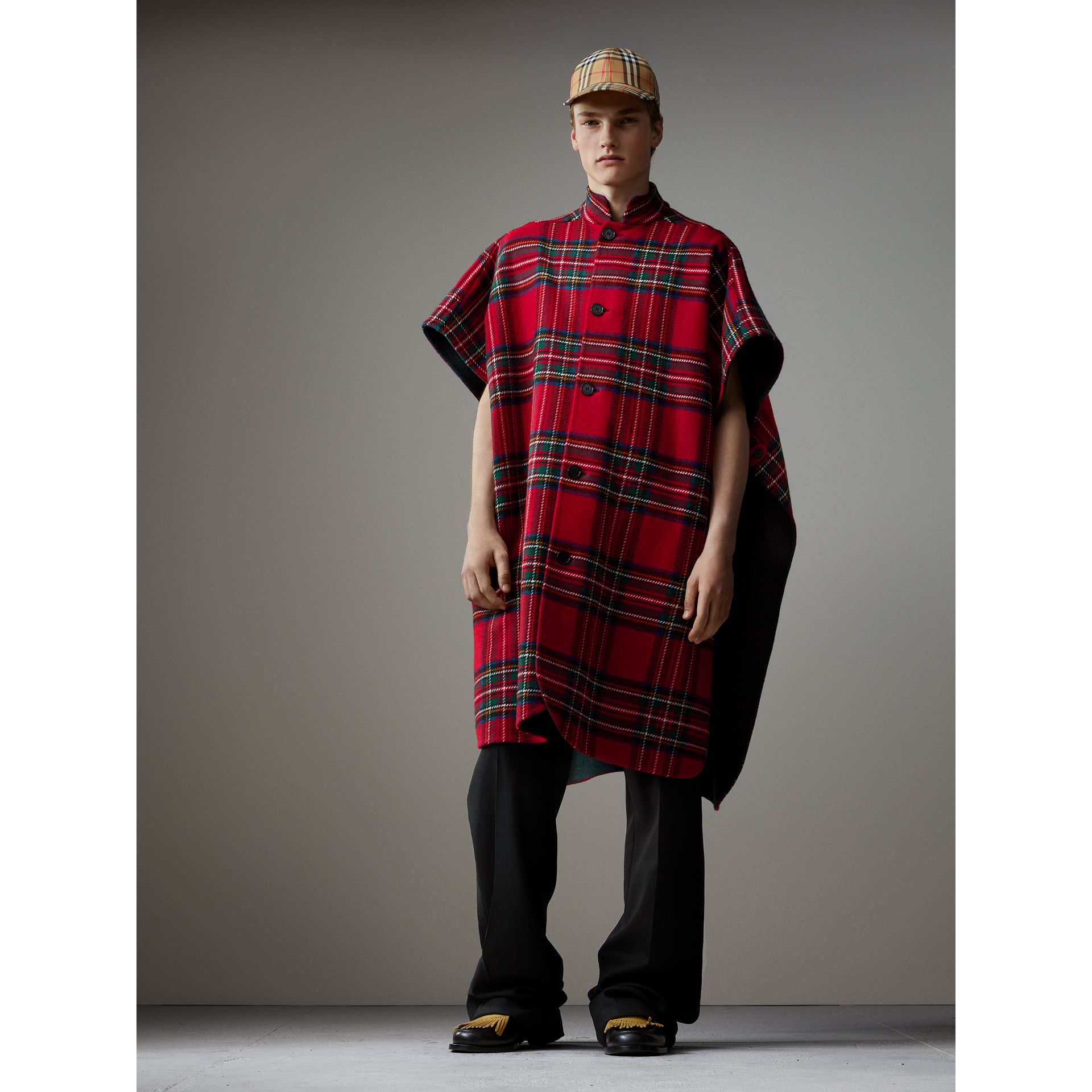 Reversible Tartan Wool Cashmere Poncho in Bright Red/dark Grey - Men | Burberry - gallery image 1