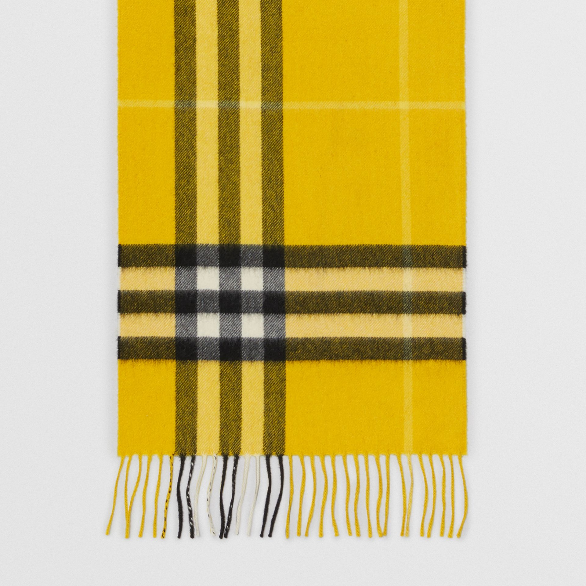 The Classic Check Cashmere Scarf in Gorse Yellow | Burberry Hong Kong - gallery image 4