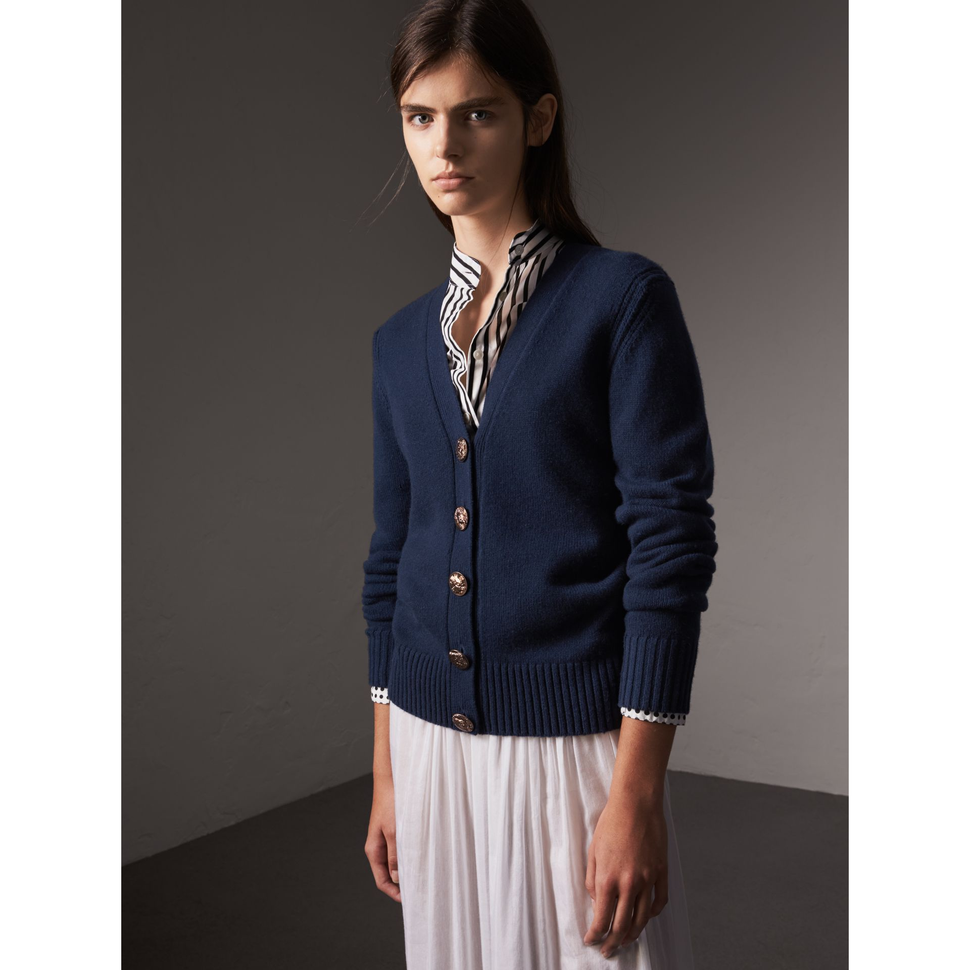 Bird Button Cashmere Cardigan in Navy - Women | Burberry United Kingdom - gallery image 1