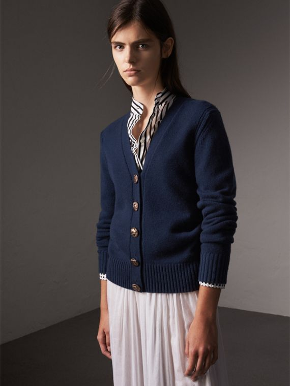 Bird Button Cashmere Cardigan in Navy