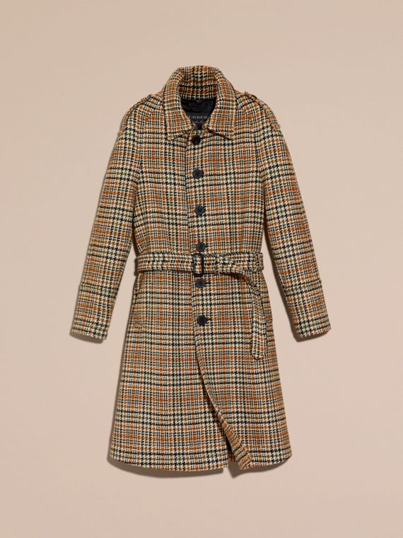 Giallo ocra Trench coat monopetto in tweed di lana - cell image 3