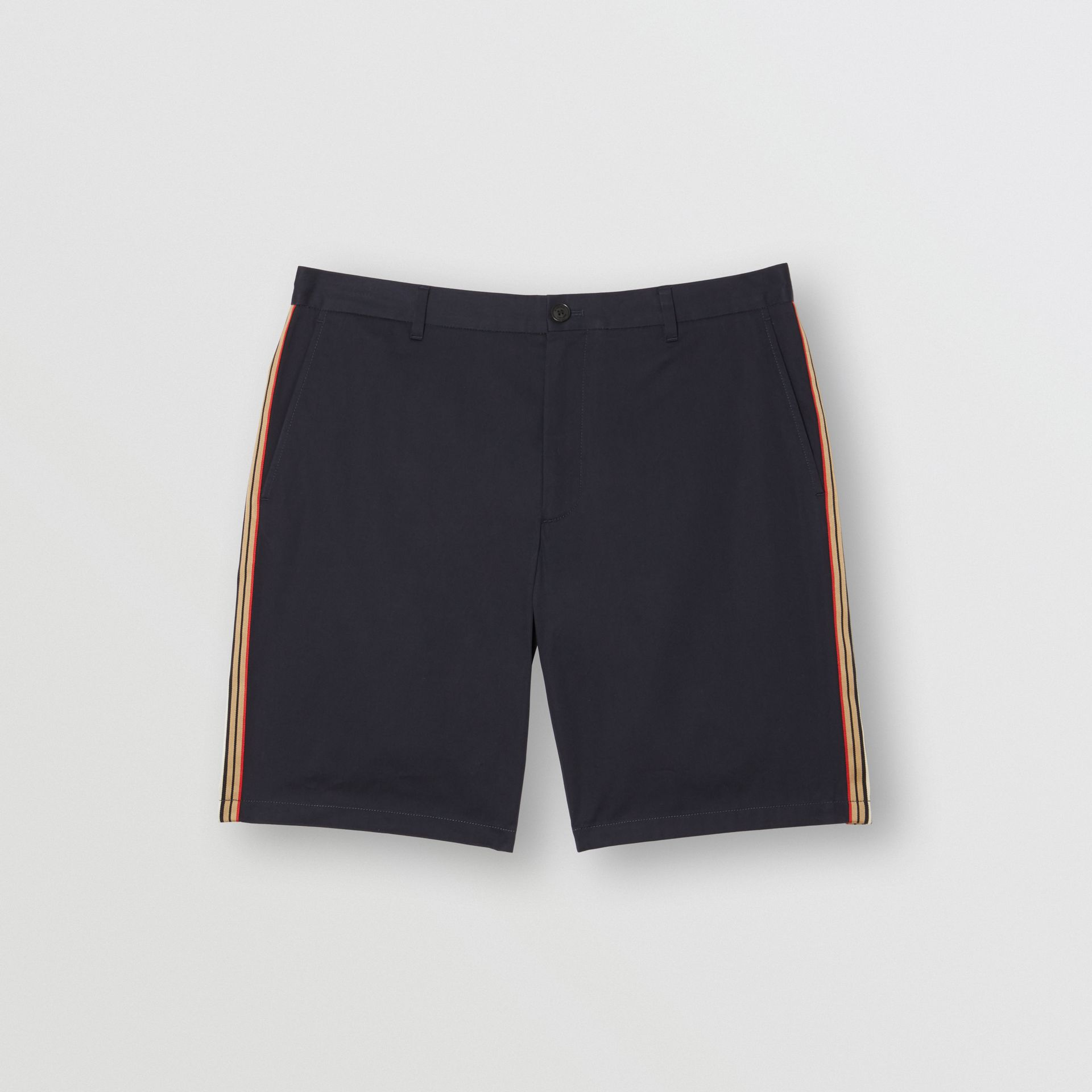 Icon Stripe Detail Cotton Twill Chino Shorts in Navy - Men | Burberry - gallery image 3