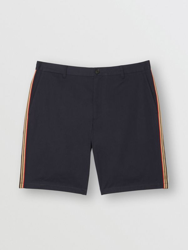 Icon Stripe Detail Cotton Twill Chino Shorts in Navy - Men | Burberry - cell image 3