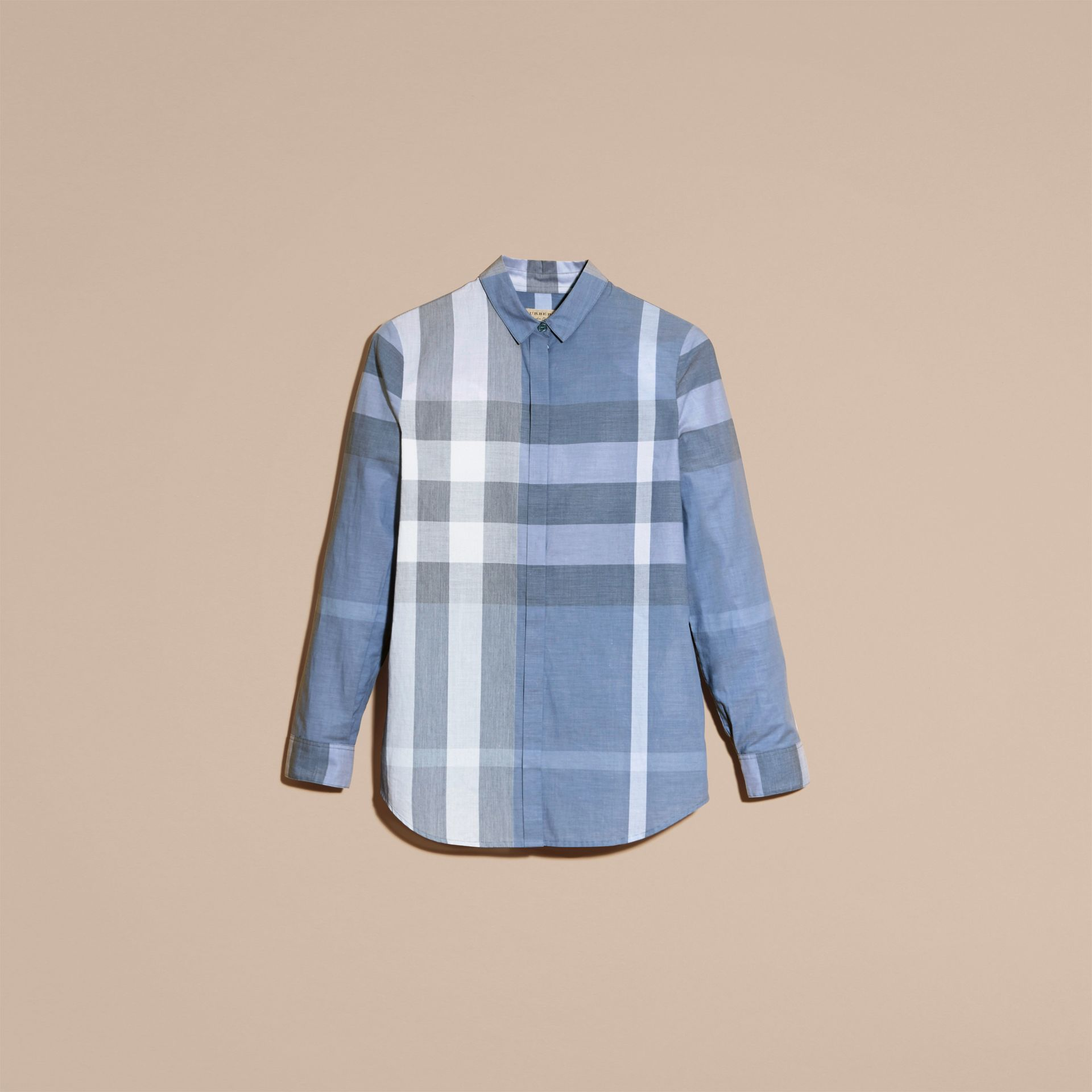 Check Cotton Shirt in Canvas Blue - Women | Burberry - gallery image 3