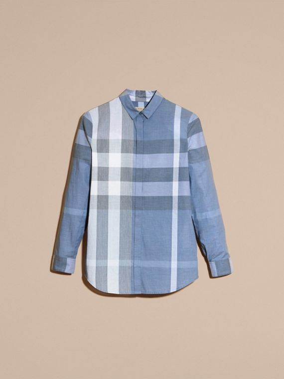Check Cotton Shirt in Canvas Blue - Women | Burberry - cell image 2