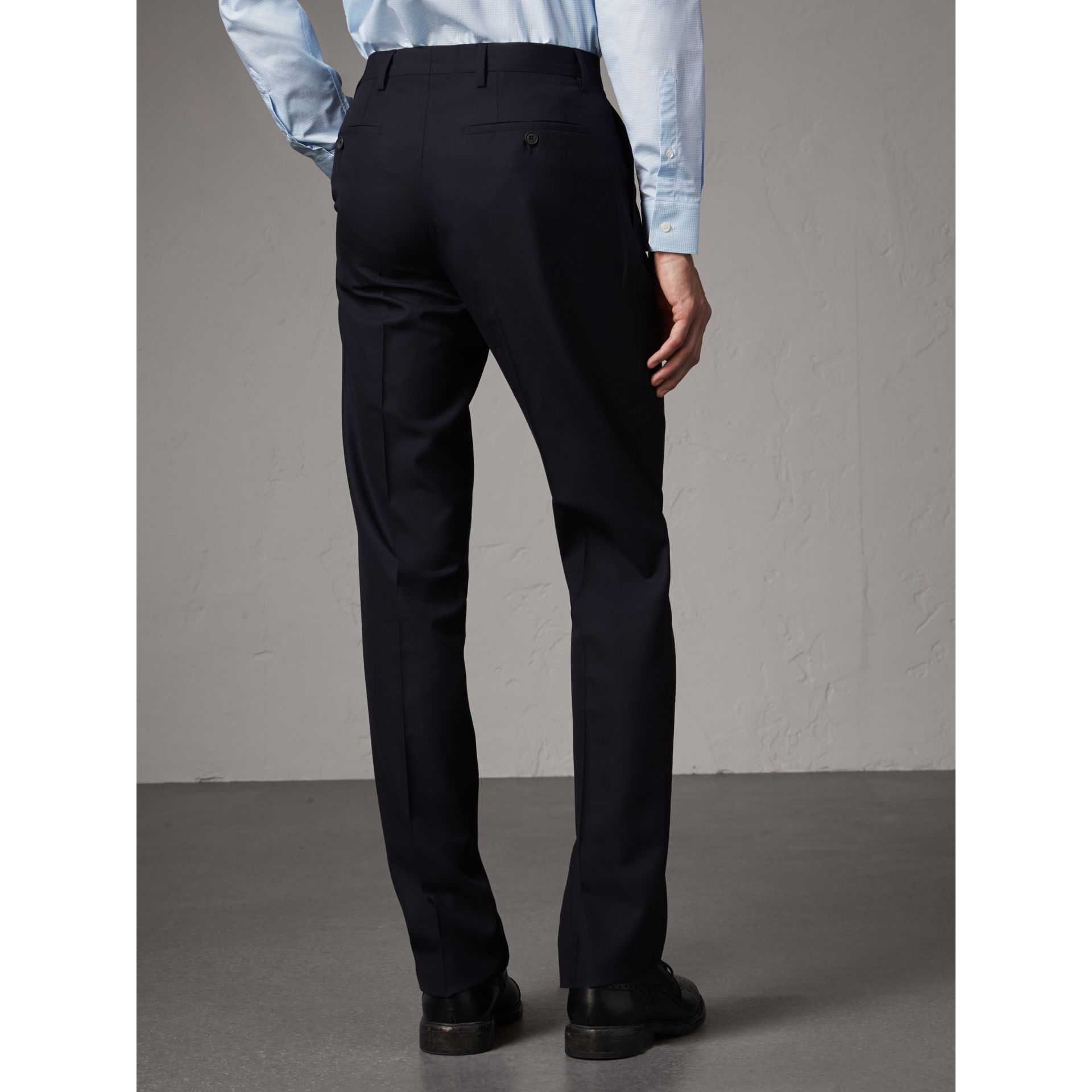 Modern Fit Wool Trousers in Navy - Men | Burberry United Kingdom - gallery image 3