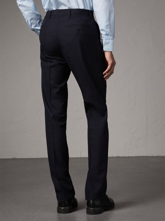 Modern Fit Wool Trousers in Navy - Men | Burberry United Kingdom - cell image 2
