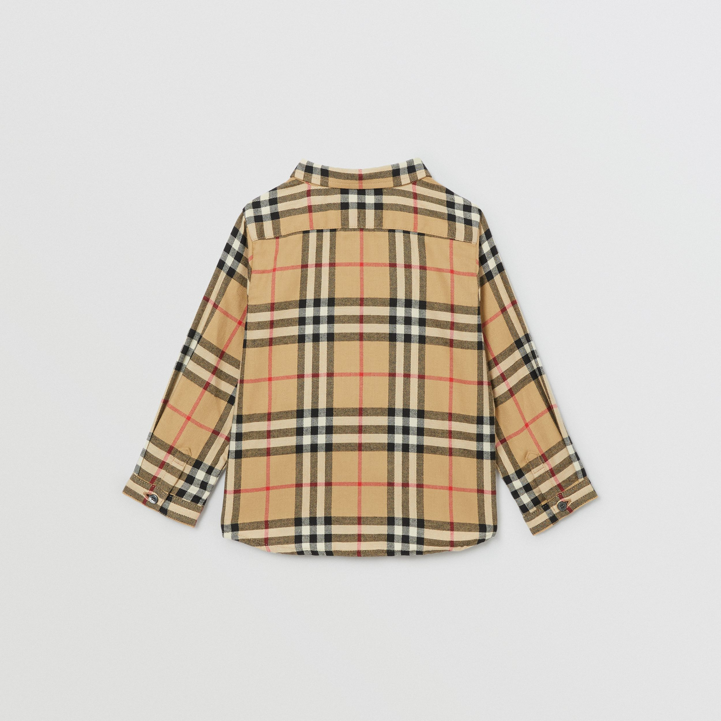 Vintage Check Cotton Flannel Shirt in Archive Beige - Children | Burberry - 4
