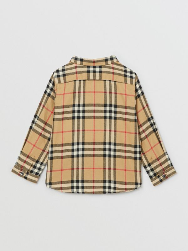 Vintage Check Cotton Flannel Shirt in Archive Beige - Children | Burberry - cell image 3
