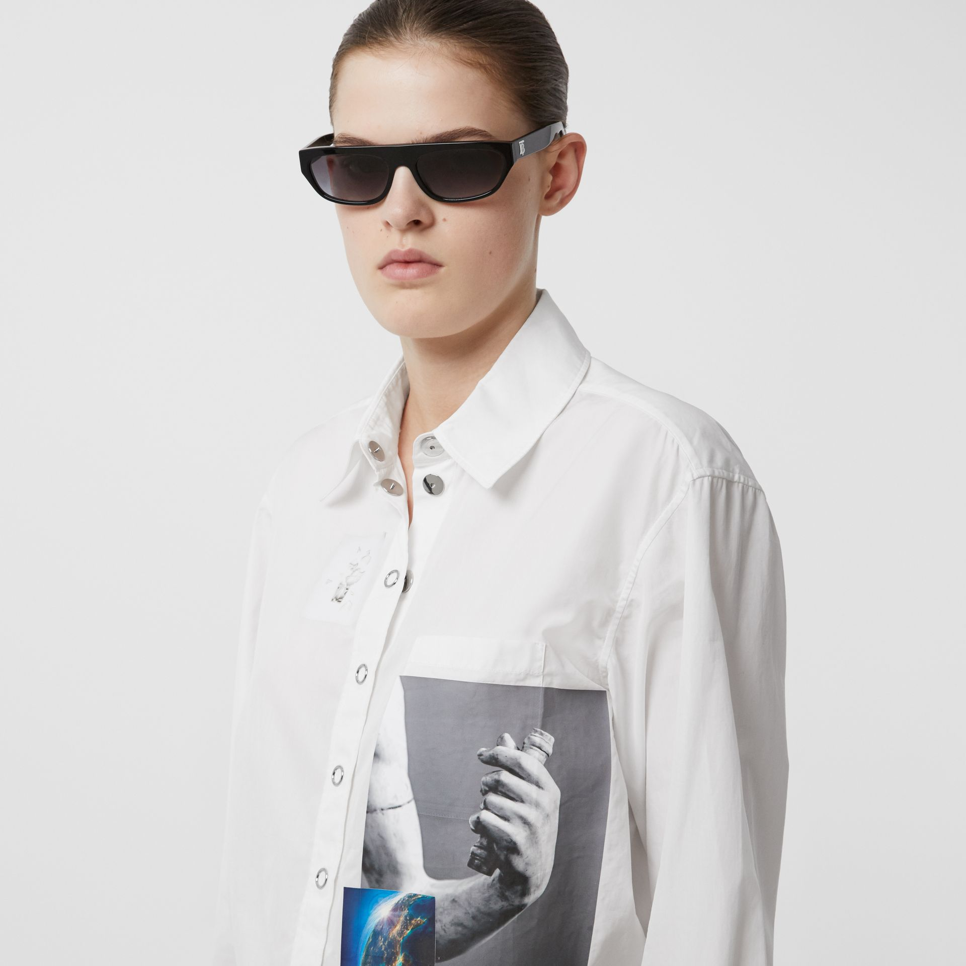 Press-stud Montage Print Cotton Shirt in White - Women | Burberry Hong Kong S.A.R - gallery image 1