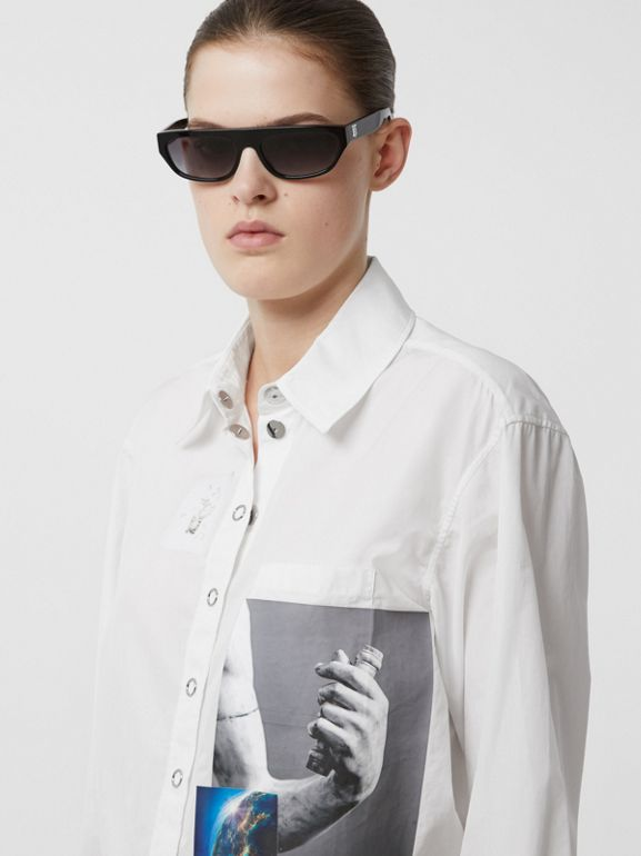Press-stud Montage Print Cotton Shirt in White - Women | Burberry Hong Kong S.A.R - cell image 1