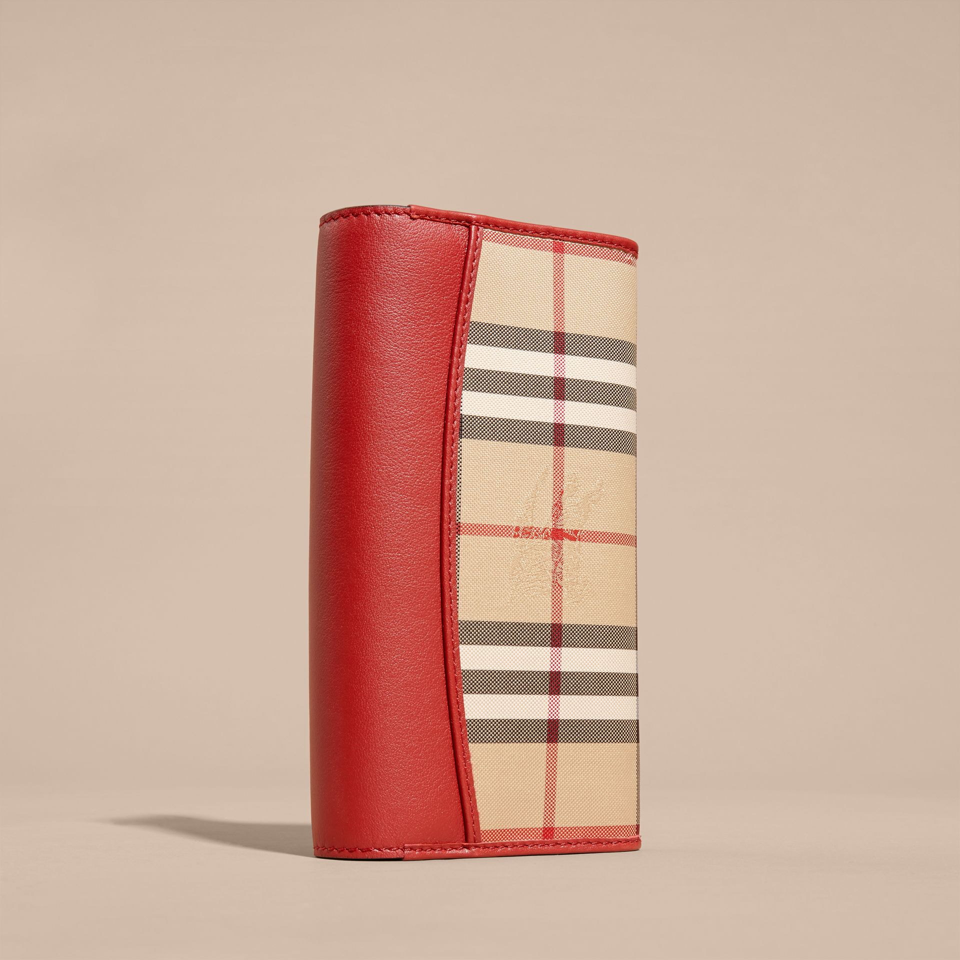Horseferry Check and Leather Continental Wallet in Parade Red - Women | Burberry - gallery image 4