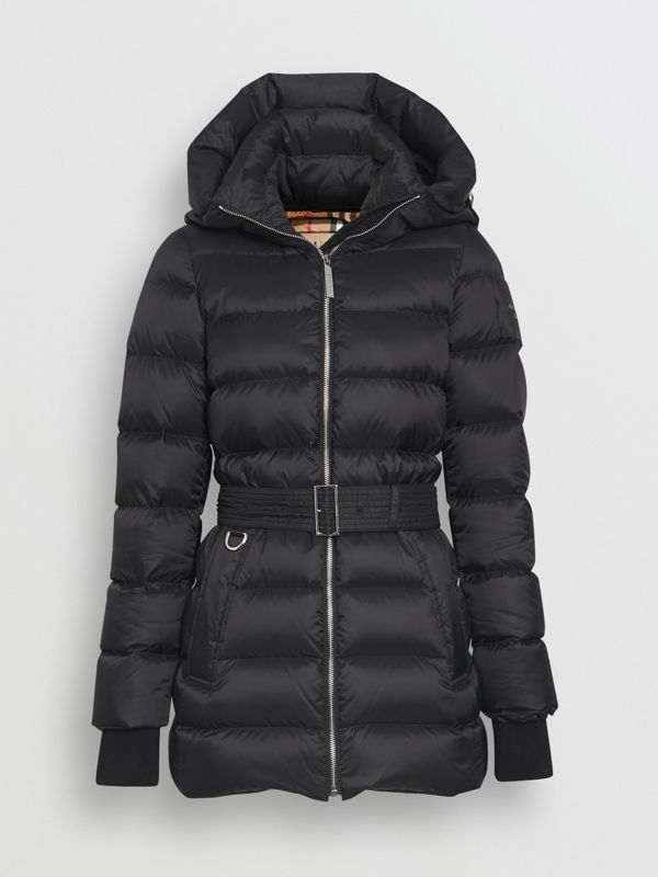 Detachable Hood Down-filled Puffer Coat in Black - Women | Burberry - cell image 3