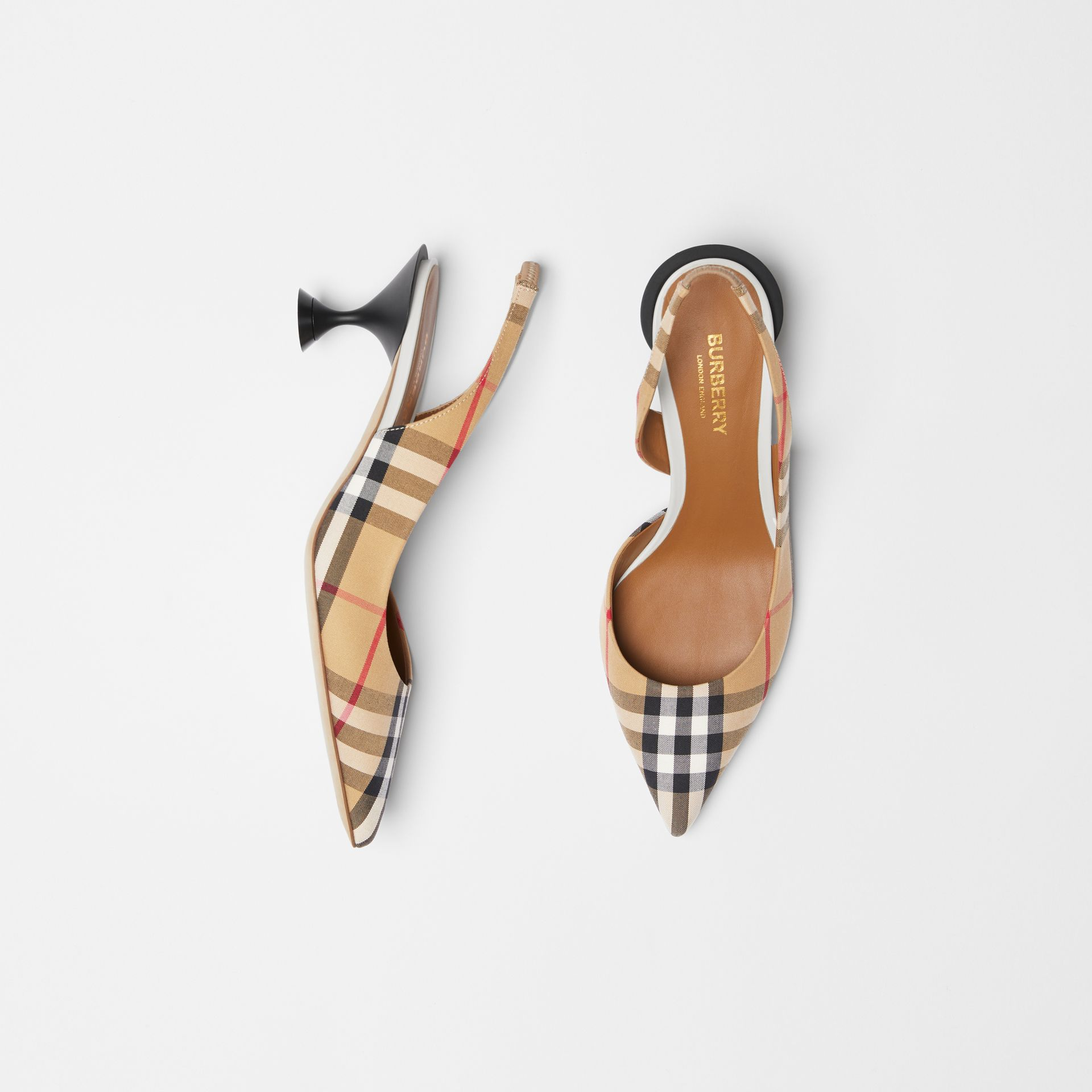 Vintage Check Slingback Pumps in Archive Beige - Women | Burberry Hong Kong S.A.R - gallery image 0