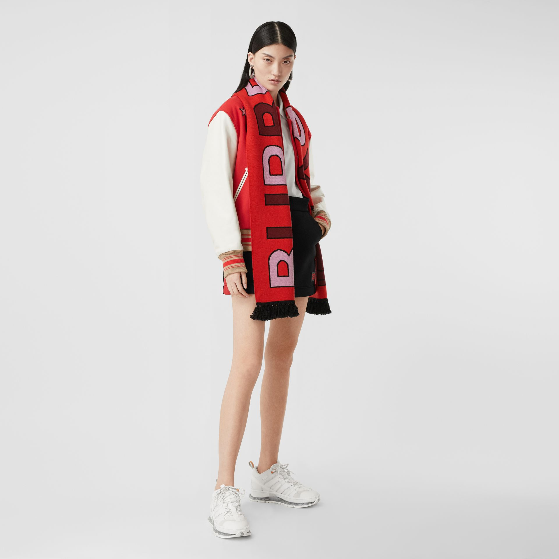 Logo and Monogram Motif Intarsia Cashmere Scarf in Bright Red | Burberry United States - gallery image 6