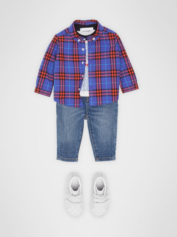Button-down Collar Check Cotton Shirt in Sapphire Blue - Children | Burberry - cell image 2