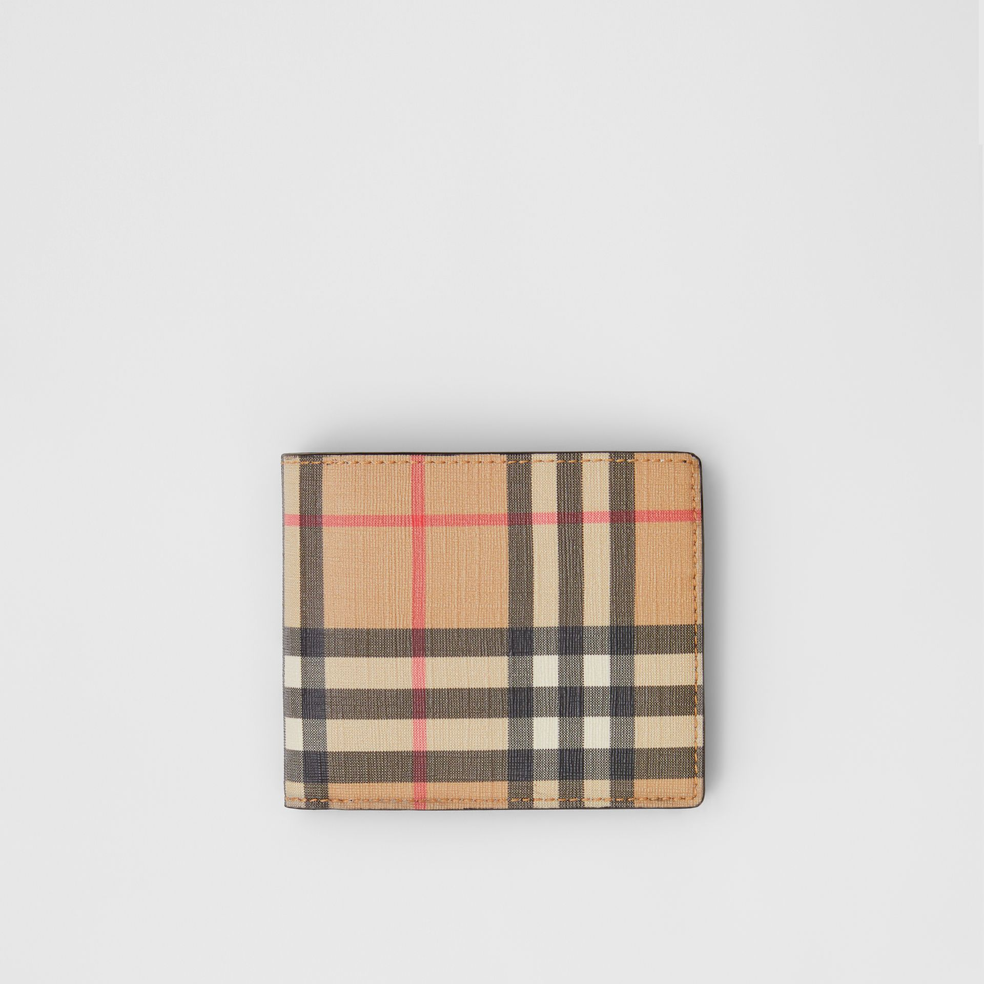Vintage Check E-canvas Wallet with ID Card Case in Archive Beige - Men | Burberry - gallery image 0