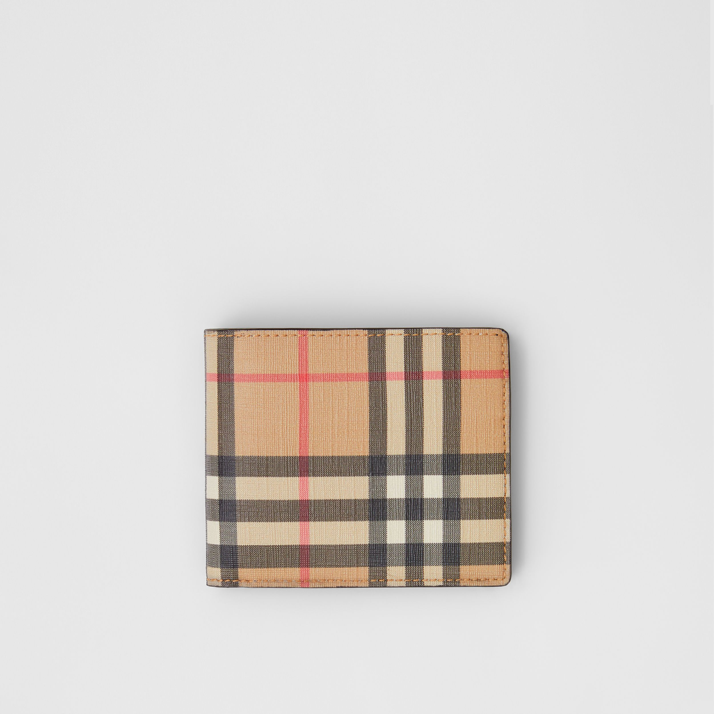 Vintage Check E-canvas Wallet with ID Card Case in Archive Beige - Men | Burberry Singapore - 1