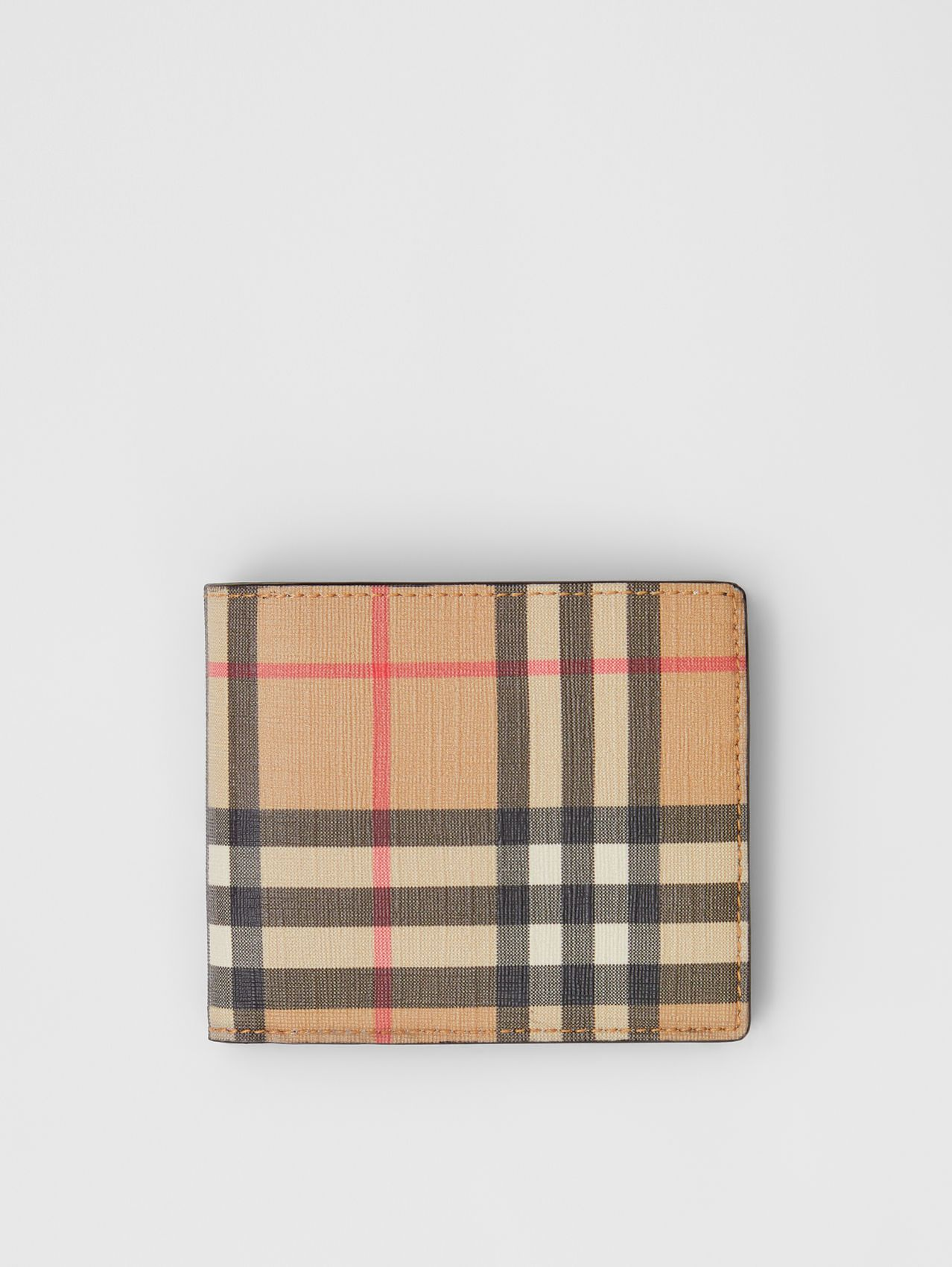 Vintage Check E-canvas Wallet with ID Card Case in Archive Beige