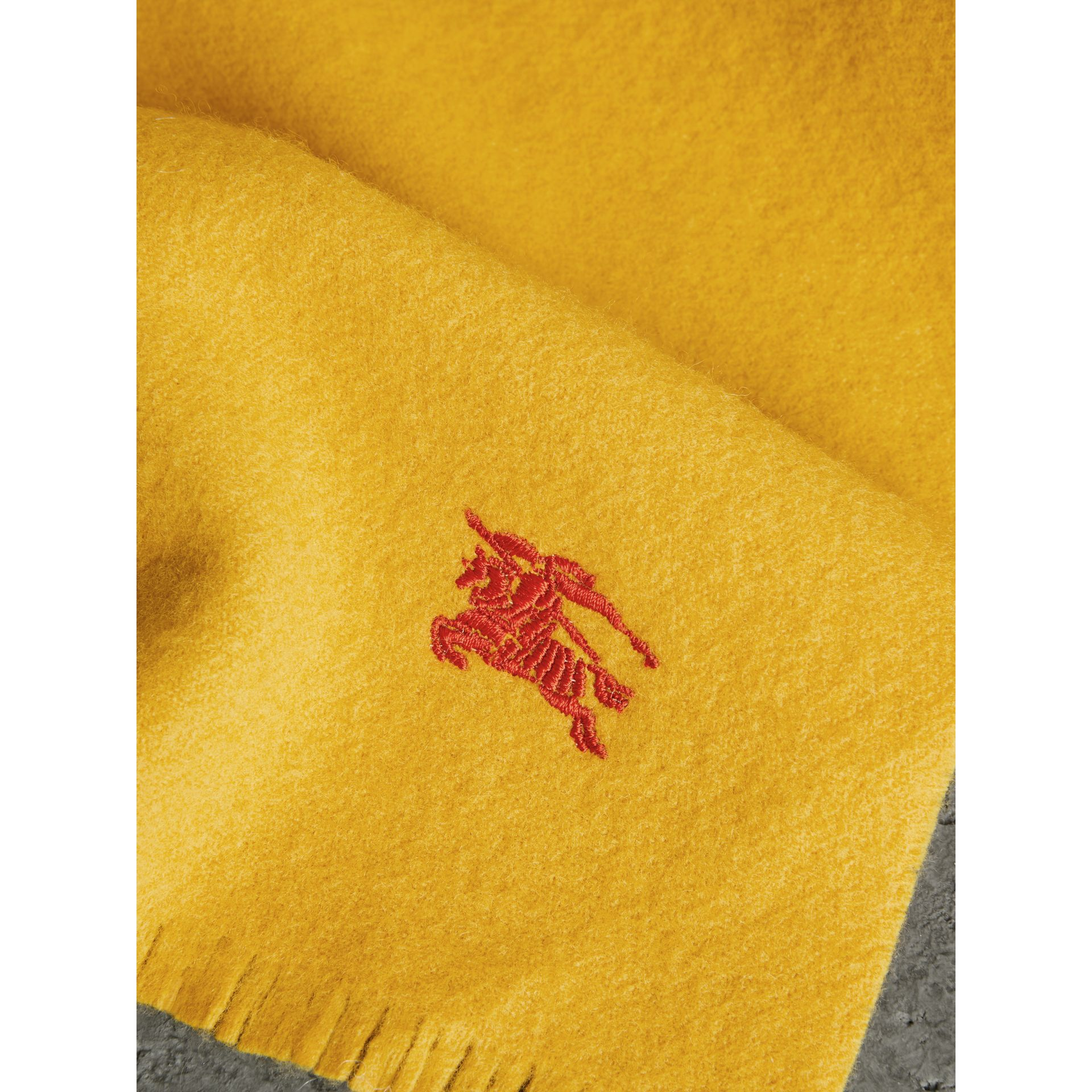 Embroidered Felted Wool Scarf in Saffron | Burberry - gallery image 1
