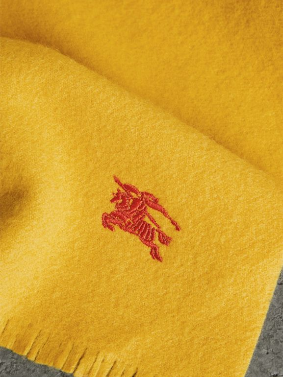 Embroidered Felted Wool Scarf in Saffron | Burberry - cell image 1