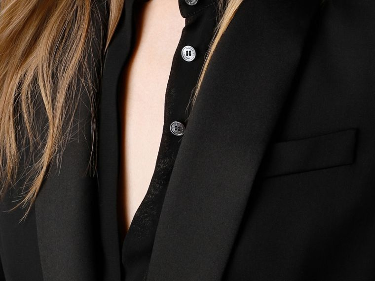 Black Stretch Wool Tuxedo Jacket - cell image 4