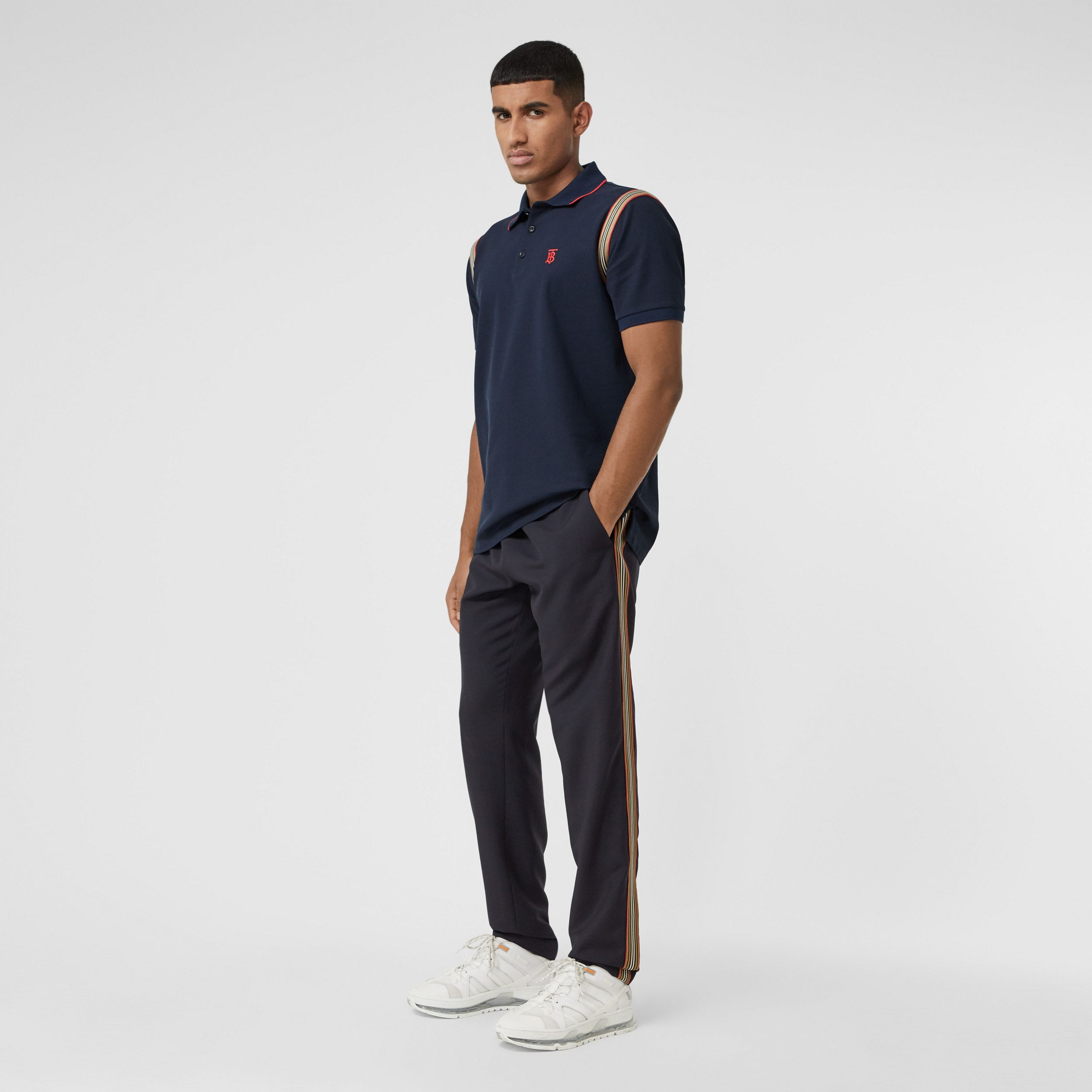 Icon Stripe Panel Wool Mohair Jogging Pants in Navy - Men | Burberry - 1