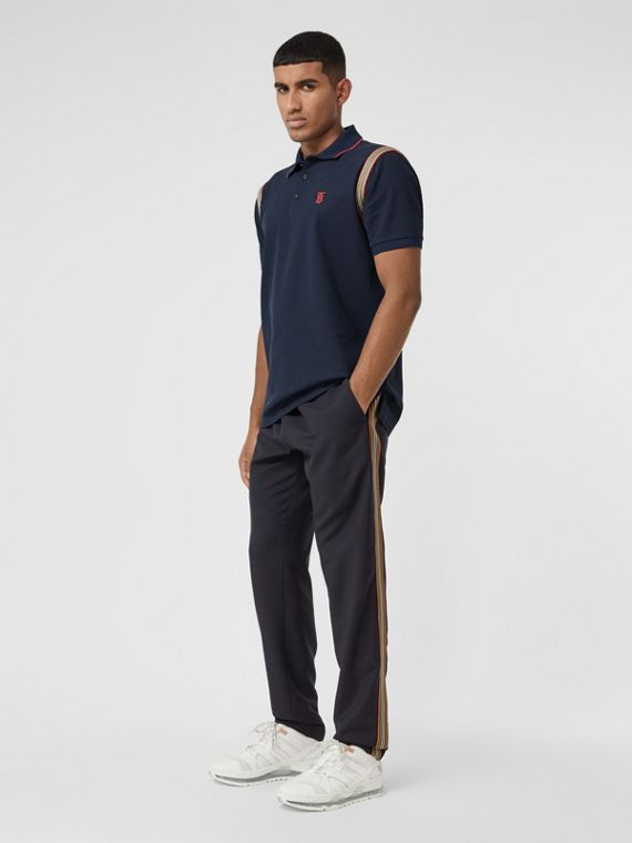 Icon Stripe Panel Wool Mohair Jogging Pants in Navy