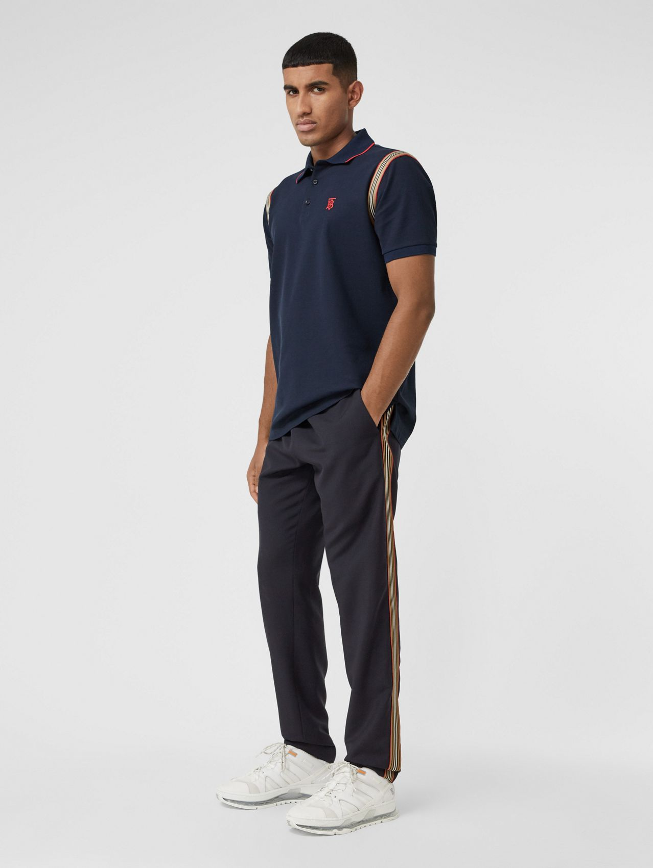 Icon Stripe Detail Wool Mohair Trackpants in Navy