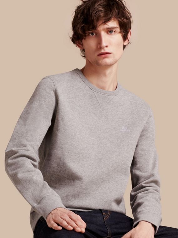 Cotton Blend Jersey Sweatshirt in Pale Grey Melange