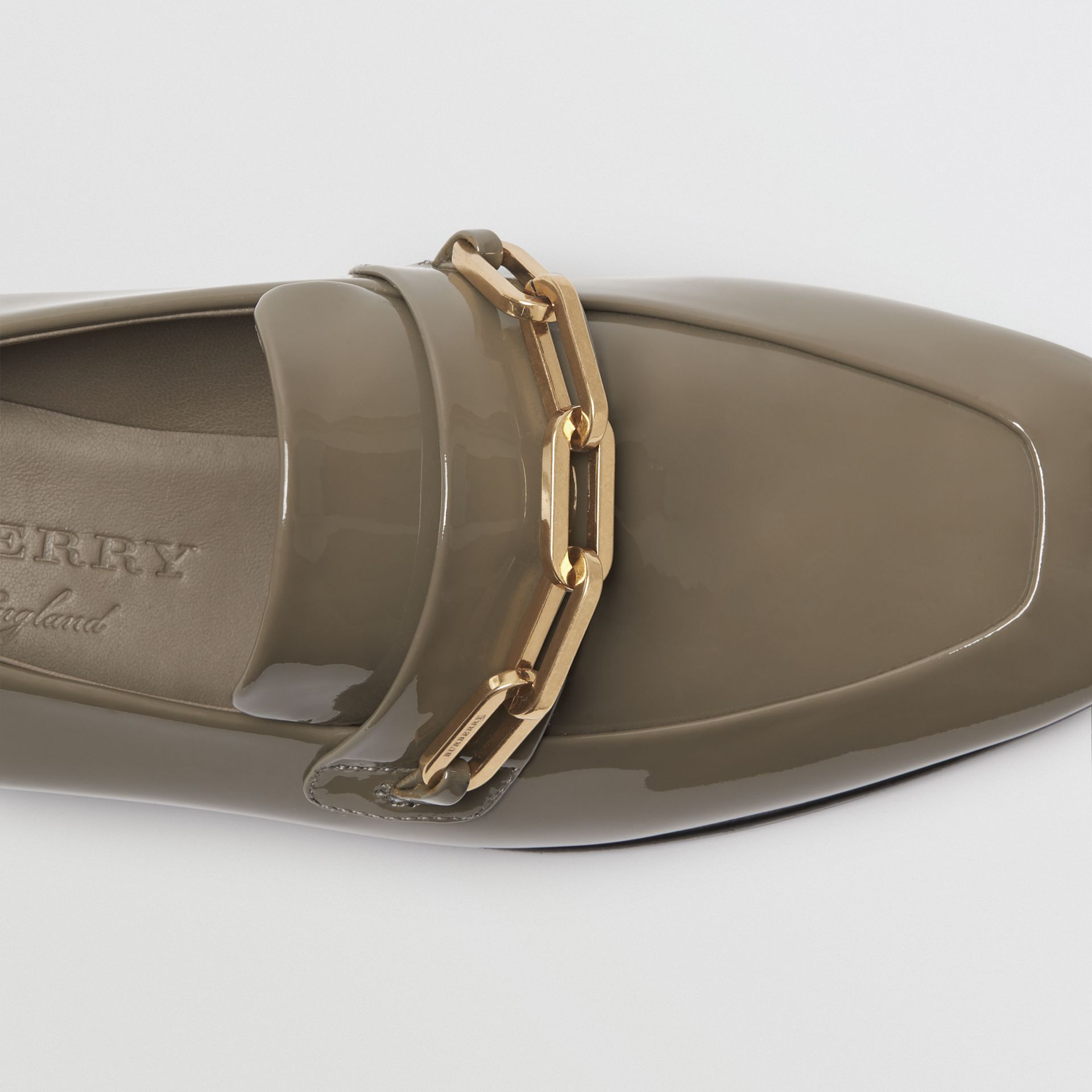 Link Detail Patent Leather Loafers in Taupe Grey - Women | Burberry - gallery image 1