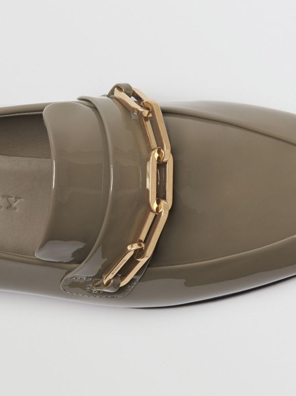 Link Detail Patent Leather Loafers in Taupe Grey - Women | Burberry - cell image 1
