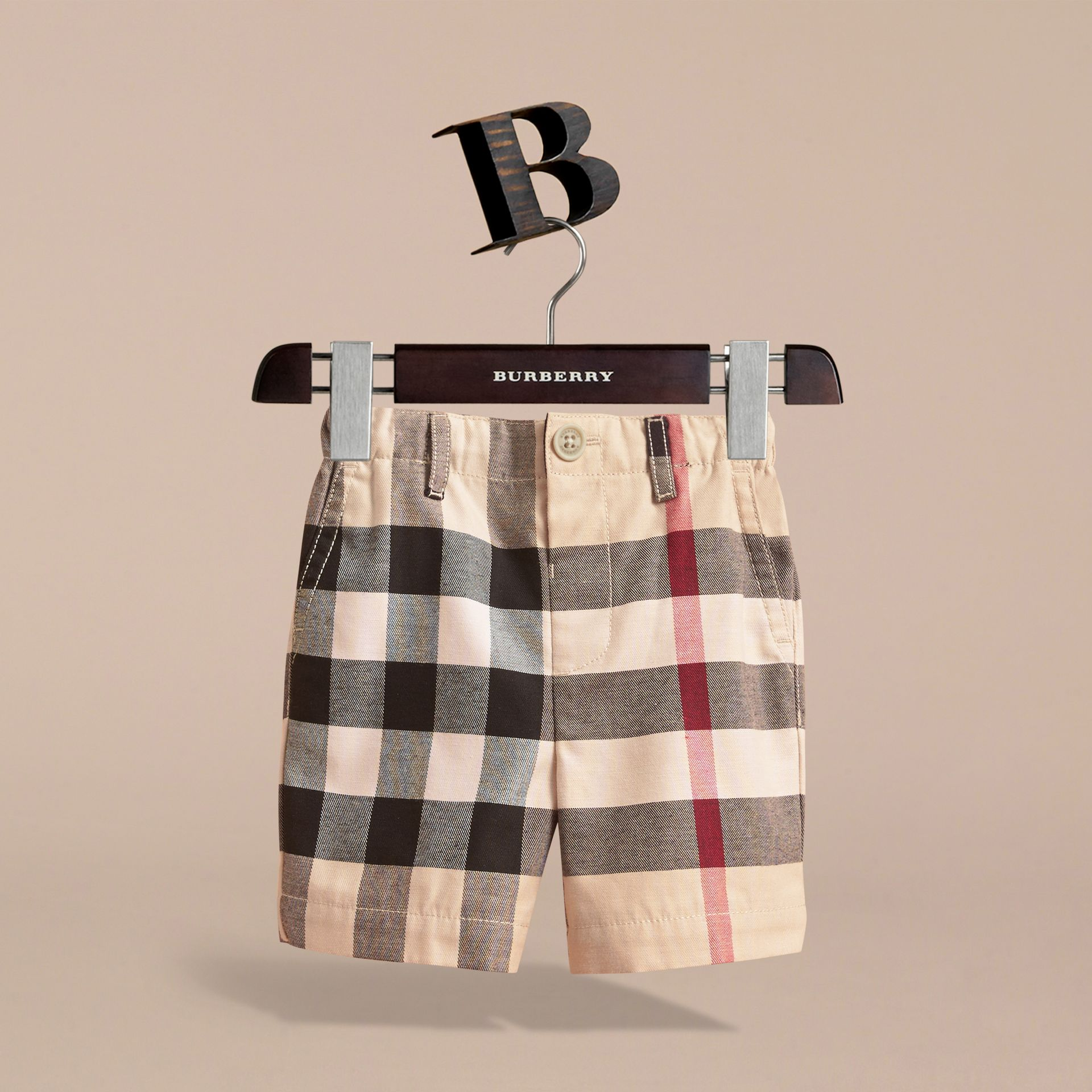 Check Cotton Chino Shorts in Stone | Burberry Australia - gallery image 3