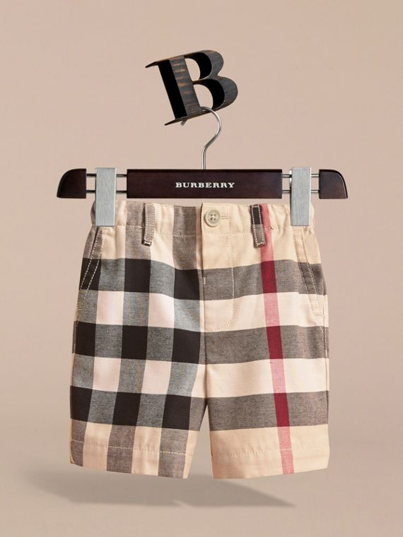 Check Cotton Chino Shorts in Stone | Burberry Australia - cell image 2