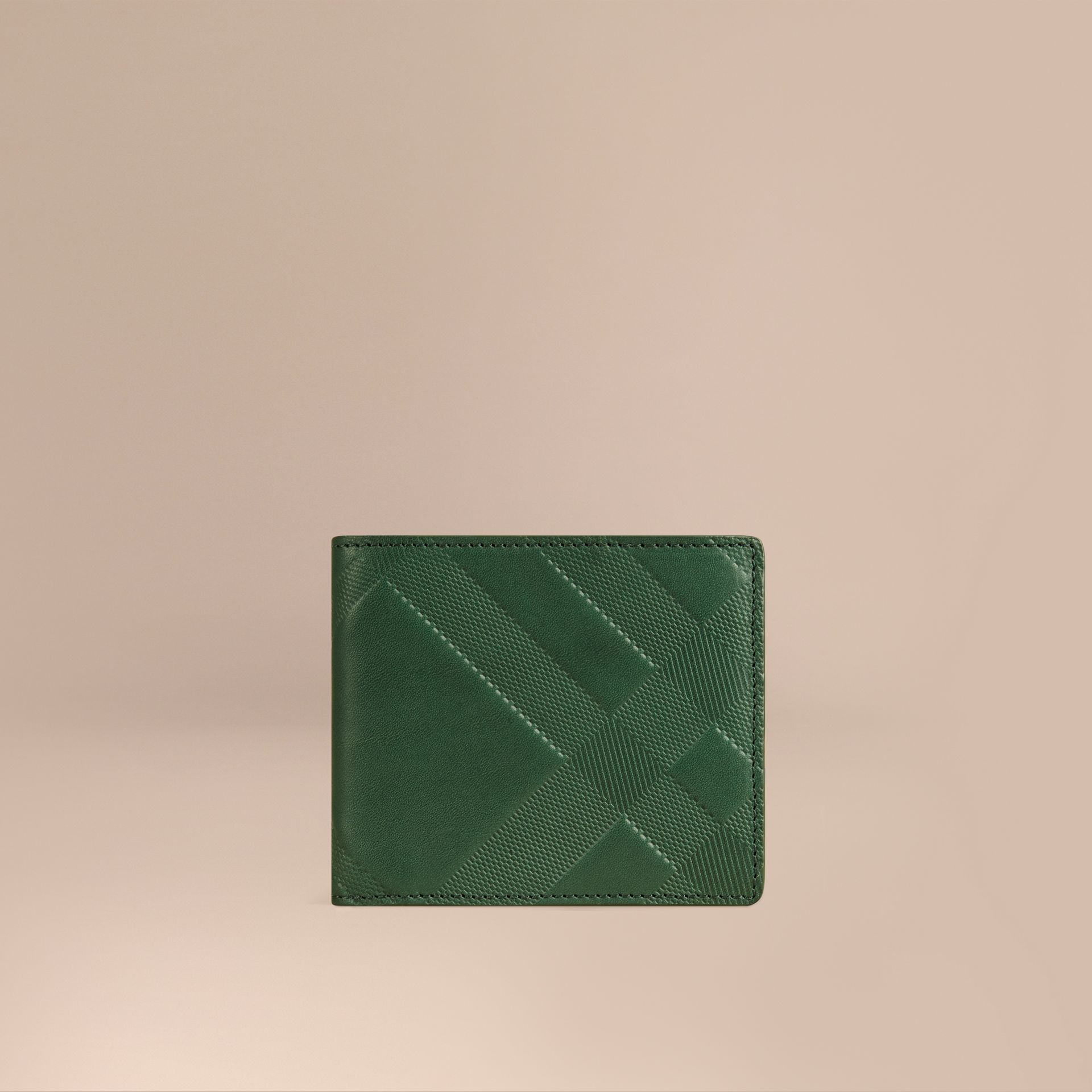 Bright forest green Check-embossed Leather Folding Wallet - gallery image 1