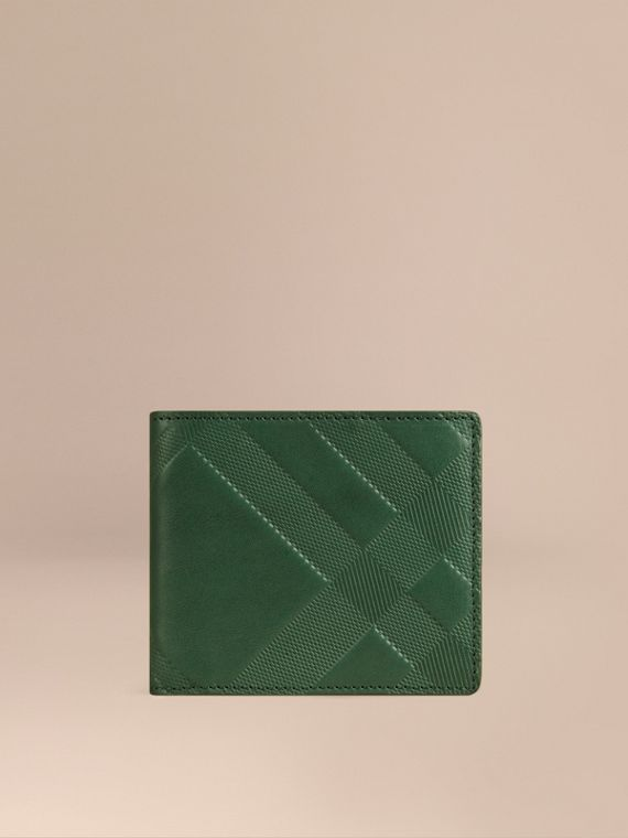 Check-embossed Leather Folding Wallet Bright Forest Green