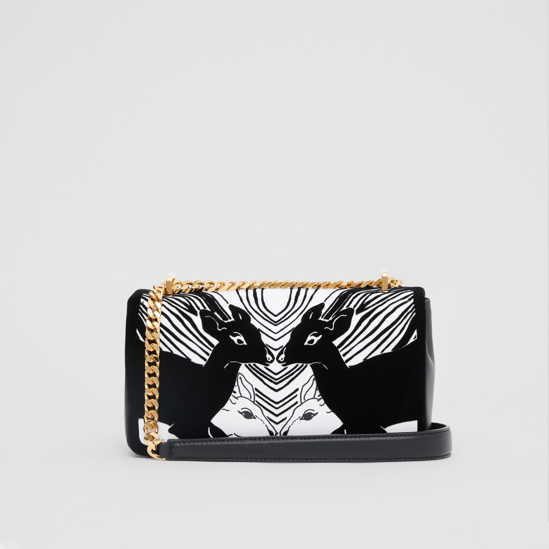 Small Deer Flock Leather Lola Bag in Black/white - Women | Burberry - gallery image 7