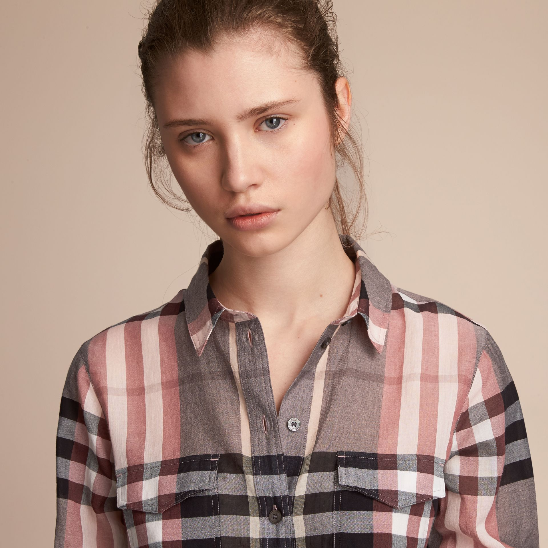 Check Cotton Shirt in Dusty Pink - Women | Burberry Singapore - gallery image 5