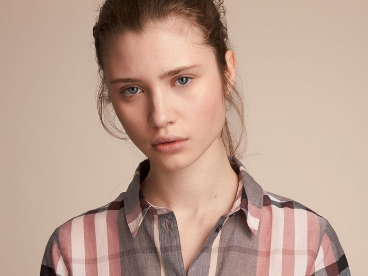 Check Cotton Shirt in Dusty Pink - Women | Burberry - cell image 4