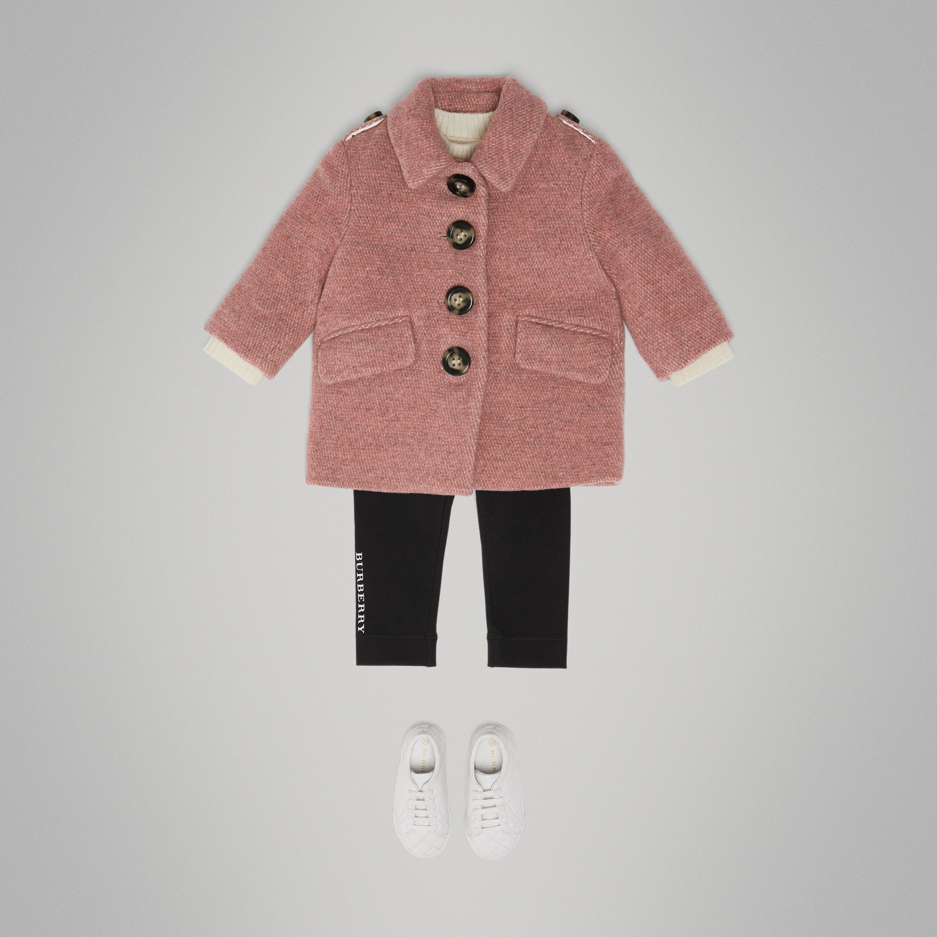 Wool Blend Pea Coat in Rose Pink Melange - Children | Burberry United Kingdom - gallery image 2