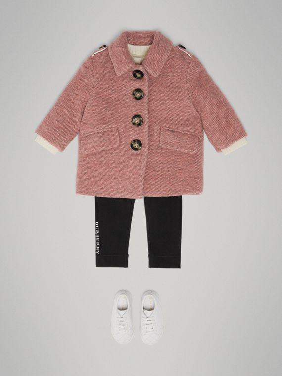 Wool Blend Pea Coat in Rose Pink Melange