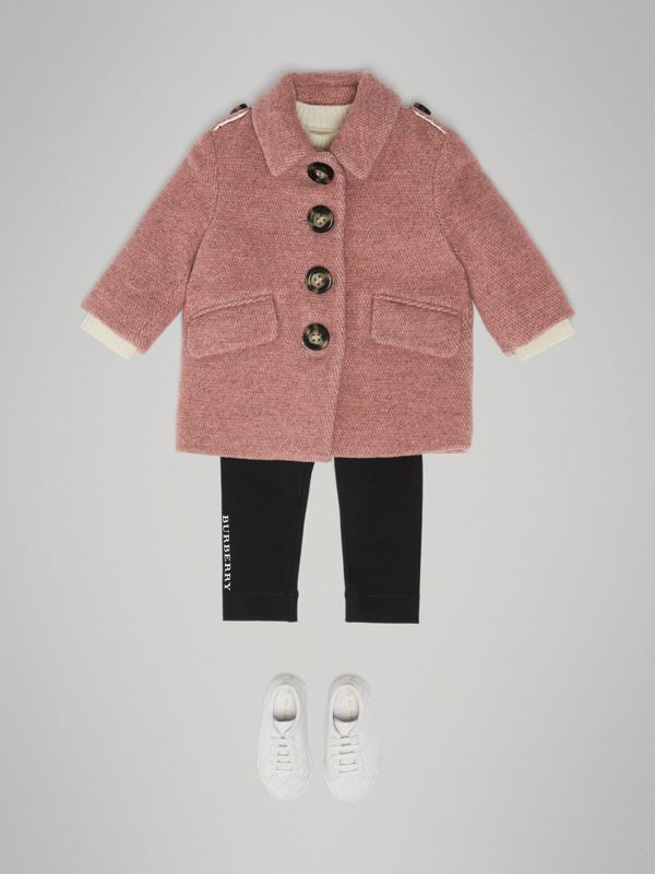 Wool Blend Pea Coat in Rose Pink Melange - Children | Burberry United Kingdom - cell image 2