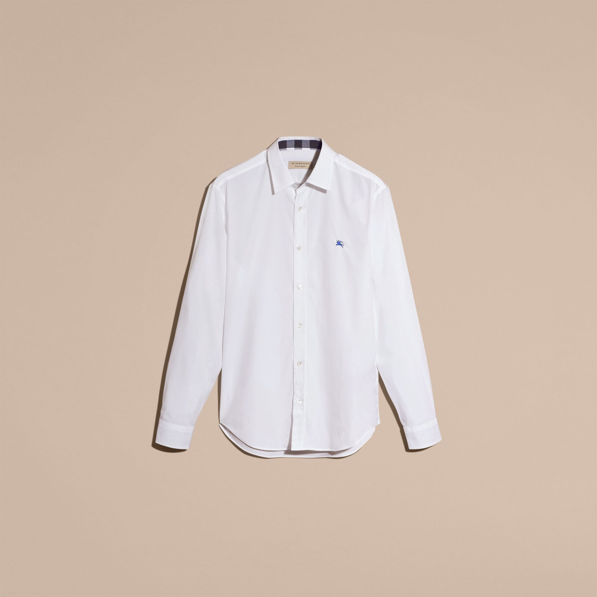 Check Detail Stretch Cotton Shirt White - gallery image 4