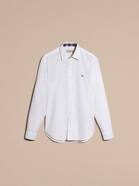 Check Detail Stretch Cotton Shirt White - cell image 3