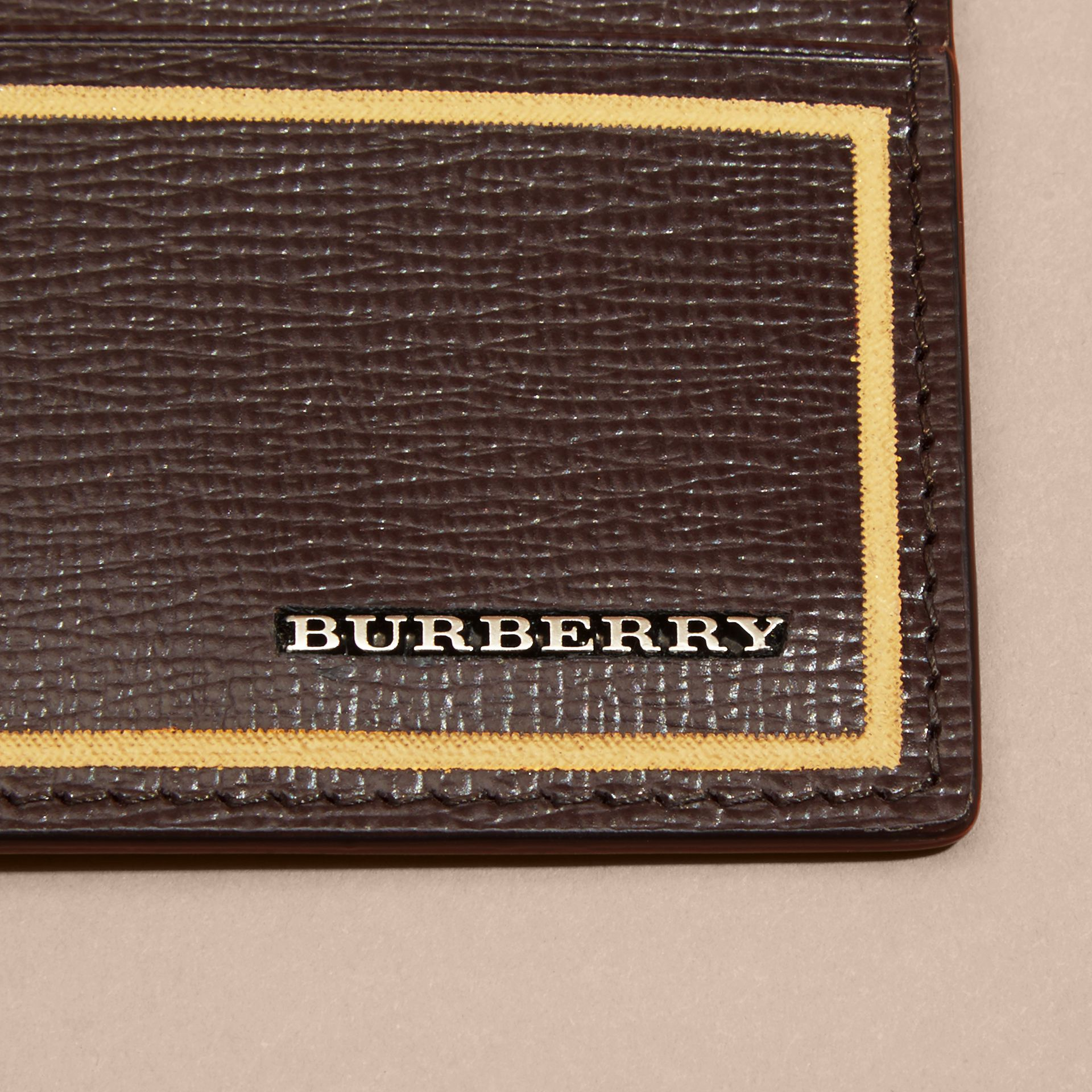 Border Detail London Leather Card Case Peppercorn - gallery image 3