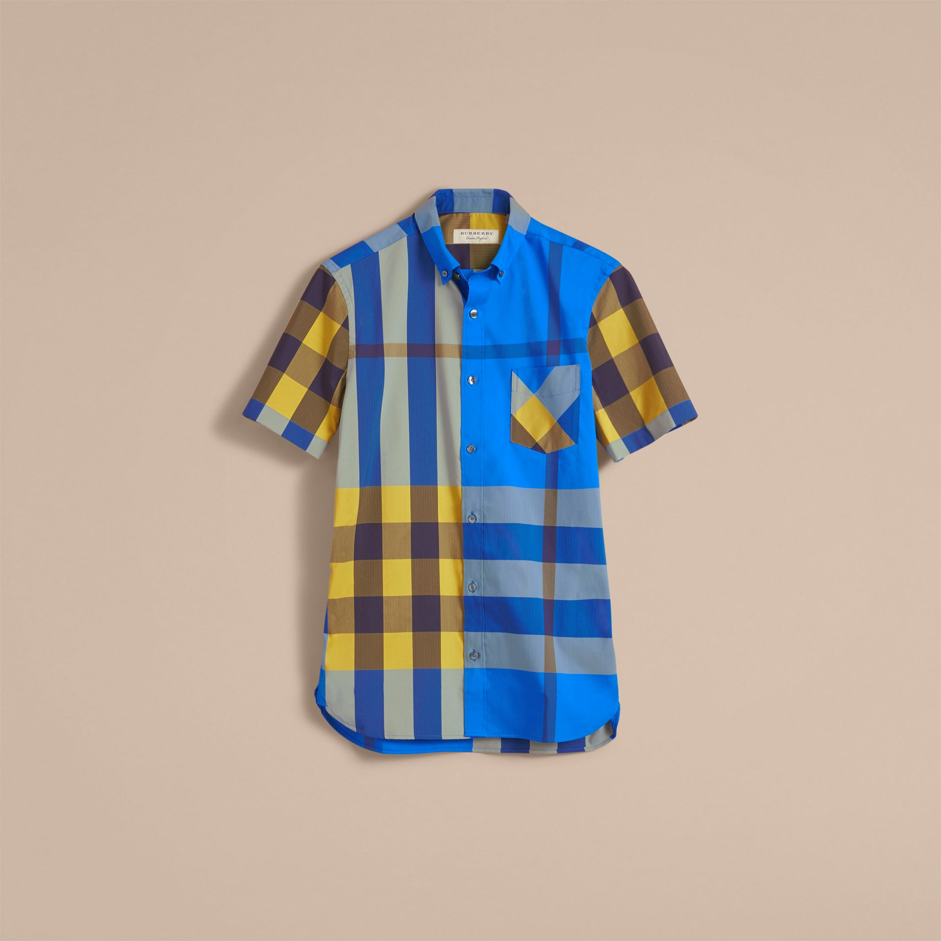 Short-sleeve Check Stretch Cotton Blend Shirt in Bright Canvas Blue - Men | Burberry - gallery image 4